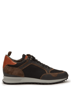 Dunhill - Radial Mesh And Bonded Suede Trainers - Mens - Brown