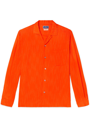 Blue Blue Japan - Camp-collar Striped Brushed-twill Shirt - Orange