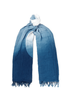 Blue Blue Japan - Dégradé Indigo-dyed Cotton And Linen-blend Scarf - Indigo