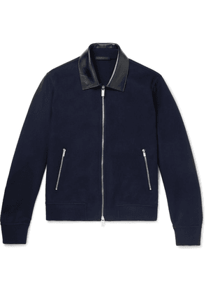 Berluti - Leather-trimmed Cashmere Bomber Jacket - Navy