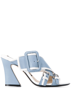No21 buckled cross strap mules - Blue