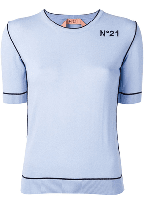 No21 embroidered logo knitted top - Blue