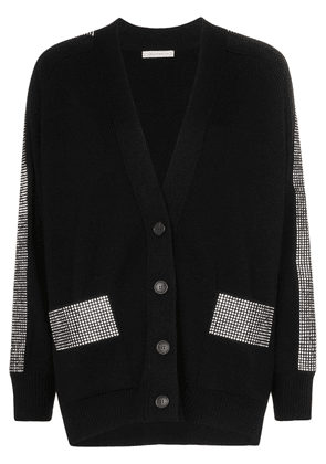 Christopher Kane Crystal-embellished relaxed fit wool cardigan - Black