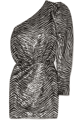Alexandre Vauthier - One-shoulder Sequined Crepe De Chine Mini Dress - Silver