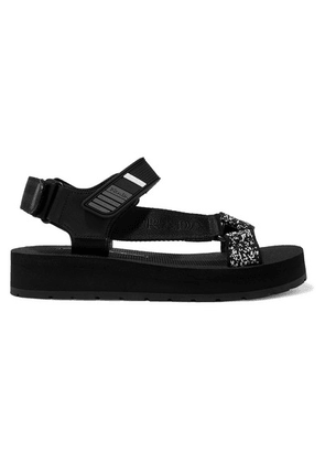 Prada - Logo-embossed Rubber-trimmed Leather And Canvas Sandals - Black