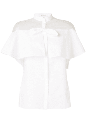 Delpozo sheer panel ruffle shirt - White