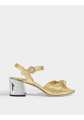 Knot Sandals with Precious Buckle in Gold Leather with Mirror Heels