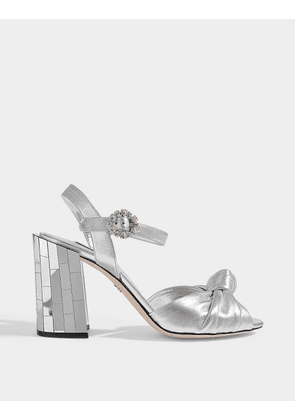 Knot Sandals with Precious Buckle in Silver Leather with Mirror Heels