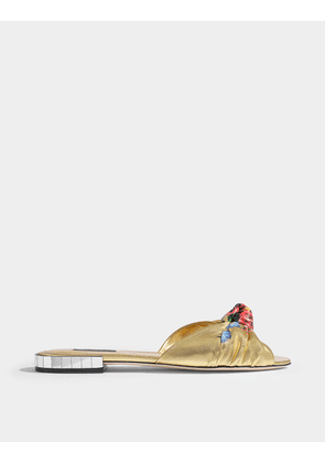 Flat Knot Slides in Flowery Gold Nappa Leather