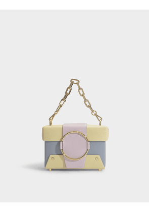 Asher Handbag in Yellow and Pink Calfskin