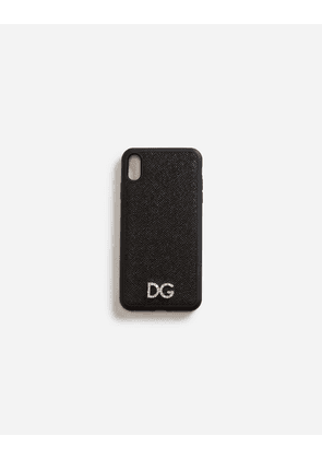 Dolce & Gabbana Hi-Tech Accessories - IPHONE XS MAX COVER IN DAUPHINE CALFSKIN WITH CRYSTAL LOGO BLACK