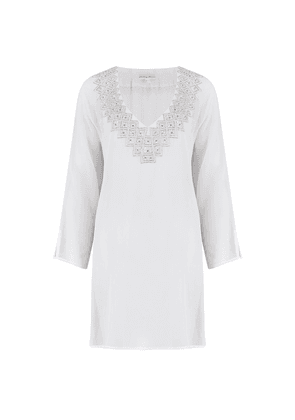 Palma Silk Kaftan - Ice White