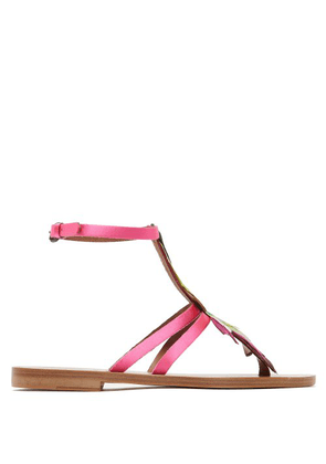 Álvaro - Ariana Feather Embellished Sandals - Womens - Pink Multi