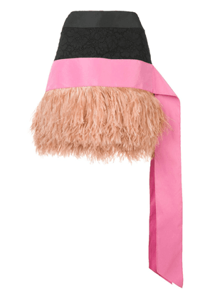 No21 striped skirt with feathers - Black
