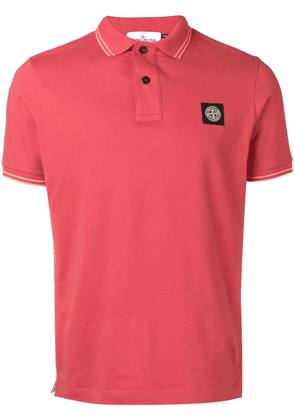 Stone Island compass logo badge polo shirt - Red