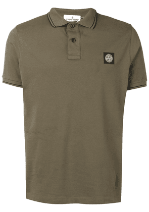 Stone Island compass logo badge polo shirt - Green