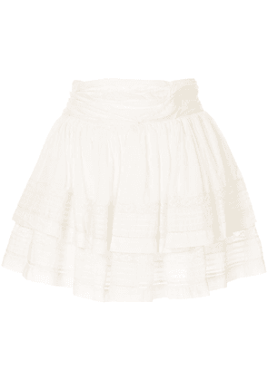 Sea tiered short skirt - White