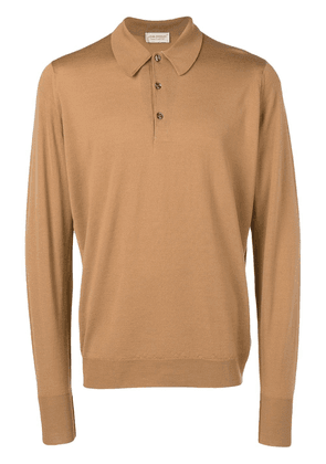 John Smedley long sleeve polo shirt - Brown