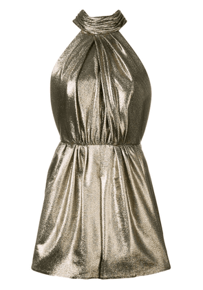 Saint Laurent bow detail metallic playsuit - Gold