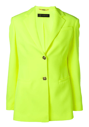 Versace embossed button blazer - Yellow