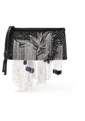 Dries Van Noten - Embellished Leather-trimmed Canvas Clutch - Black