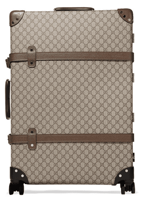 Gucci - + Globe-trotter Large Leather-trimmed Coated-canvas Suitcase - Brown