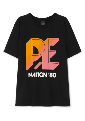 P.E NATION - Overspin Printed Cotton-jersey T-shirt - Black