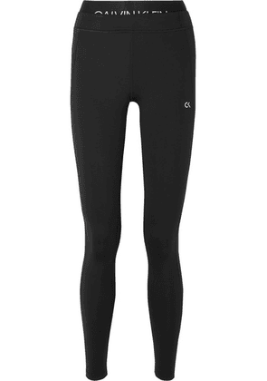 Calvin Klein - Cropped Printed Stretch Leggings - Black