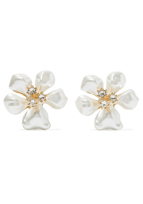 Kenneth Jay Lane - Gold-tone, Faux Pearl And Crystal Clip Earrings - White