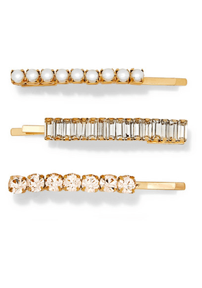 LELET NY - Set Of Three Lili Gold-plated, Crystal And Faux Pearl Hair Slides - one size