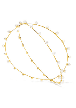 LELET NY - Nikki Gold-plated Faux Pearl Headpiece - one size