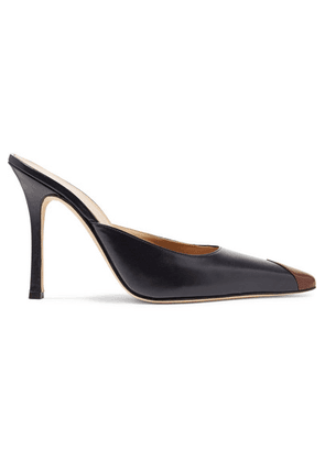Alessandra Rich - Two-tone Leather Mules - Navy