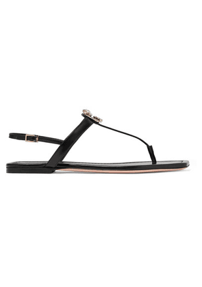 Roger Vivier - Broche Crystal-embellished Leather Slingback Sandals - Black