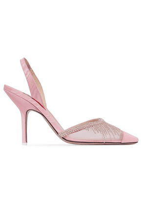 Attico - Crystal-embellished Mesh And Moire Slingback Pumps - Baby pink