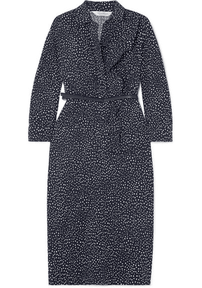 Max Mara - Vicky Ruffled Polka-dot Cotton-blend Poplin Midi Dress - Navy
