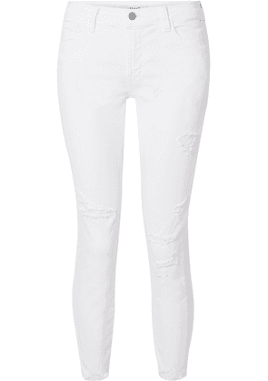J Brand - 835 Cropped Distressed Mid-rise Skinny Jeans - White
