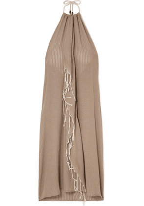 SU Paris - Tina Fringed Cotton-gauze Halterneck Dress - Beige