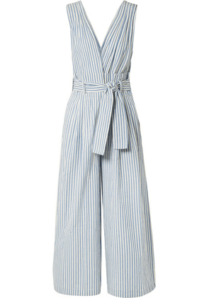 Mes Demoiselles - Classic Striped Cotton-voile Jumpsuit - Blue