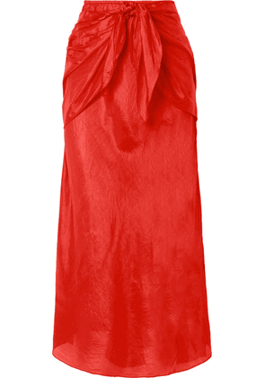 Mes Demoiselles - Nereide Knotted Crinkled Silk-satin Midi Skirt - Tomato red
