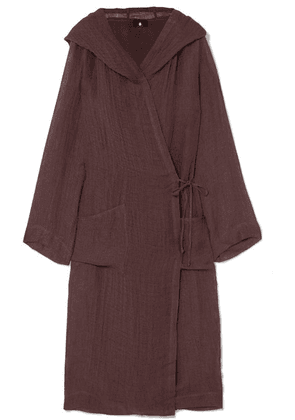 SU Paris - Koaci Linen-blend Hooded Robe - Plum