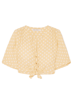 Faithfull The Brand - Boulevards Knotted Polka-dot Crepe Top - Pastel yellow