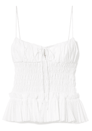 Khaite - Dagny Shirred Pleated Cotton-poplin Top - White