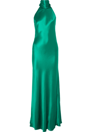 Galvan - Sienna Silk-satin Halterneck Gown - Forest green