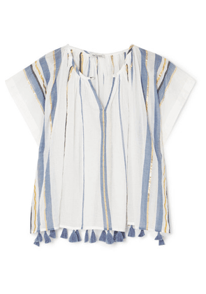 Mes Demoiselles - Azur Tasseled Metallic Striped Cotton-voile Top - White