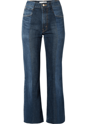 E.L.V. Denim - The Twin Two-tone Distressed High-rise Flared Jeans - Mid denim
