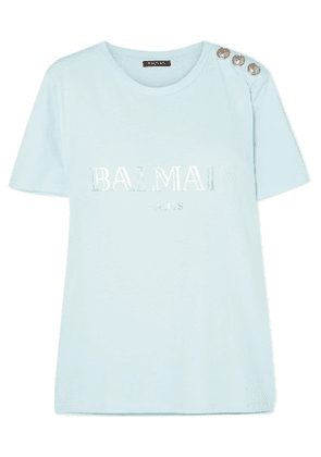 Balmain - Button-embellished Printed Cotton-jersey T-shirt - Blue