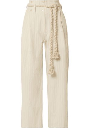 Mes Demoiselles - Olympic Striped Cotton-gauze Wide-leg Pants - Ivory
