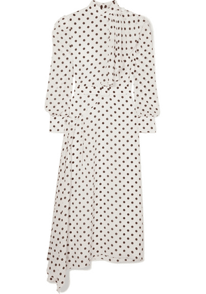 Alessandra Rich - Asymmetric Polka-dot Silk Crepe De Chine Dress - White