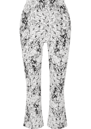 Balmain - Cropped Cracked Stretch-cotton Jersey Flared Pants - White