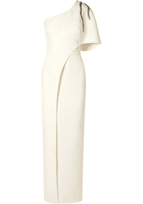 Safiyaa - One-shoulder Embellished Crepe Gown - Ivory